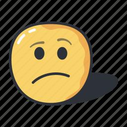 confused, emoji, emoticon, expression, sad icon
