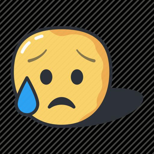 crying, emoji, emoticon, emotion, expression icon