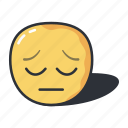 defeated, emoji, emoticon, face, feeling, sad icon