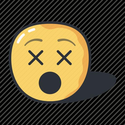 dead, dizzy, emoji, emoticons, emotion, sad, sleeping icon