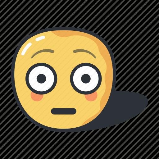 emoji, emoticon, emotion, flushed, sad, surprised icon