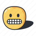 emoji, emoticons, grimacing, grinning, upset icon
