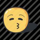 closed, emoji, emoticon, eyes, feeling, kiss, smiley icon