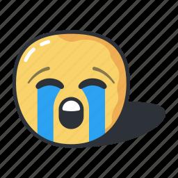 crying, emoji, emoticon, emotion, face, loudly icon