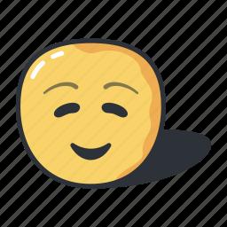cartoon, closed, emoji, eyes, small, smile, smiley icon