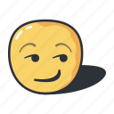 emoji, emoticon, emotion, expression, smirking icon
