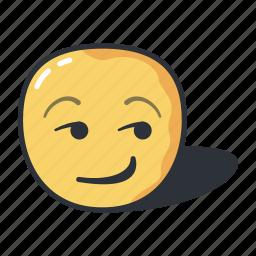 emoji, emoticon, emotion, expression, smirking icon
