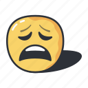 emoji, emoticon, emotion, feeling, sad, tired icon