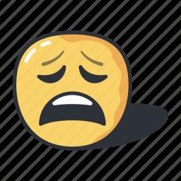 emoji, emoticon, emotion, feeling, sad, tired icon
