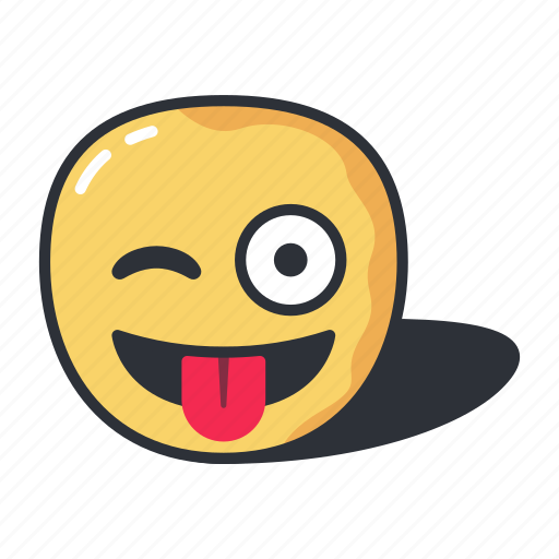 emoji, emoticon, emotion, happy, out, tongue, winking icon