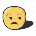 emoji, emoticon, emotion, feeling, unamused icon
