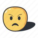 angry, emoji, emoticon, emoticons, feeling, upset icon
