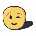 emoji, emoticons, feeling, smiley, wink icon
