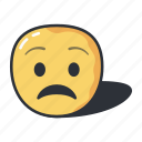 cartoon, emoji, emoticons, feeling, sad, worried icon
