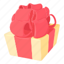 birthday, bow, box, cartoon, gift, giftbox, package icon