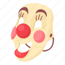 cartoon, clown, clown mask, face, mask, masking, smile icon