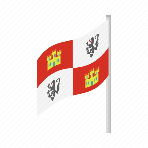ancient, crown, europe, flag, isometric, spain, spanish icon