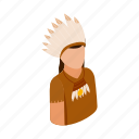 american, feather, indian, isometric, man, native, tribe icon