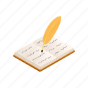 isometric, old, paper, pen, book, quill, history