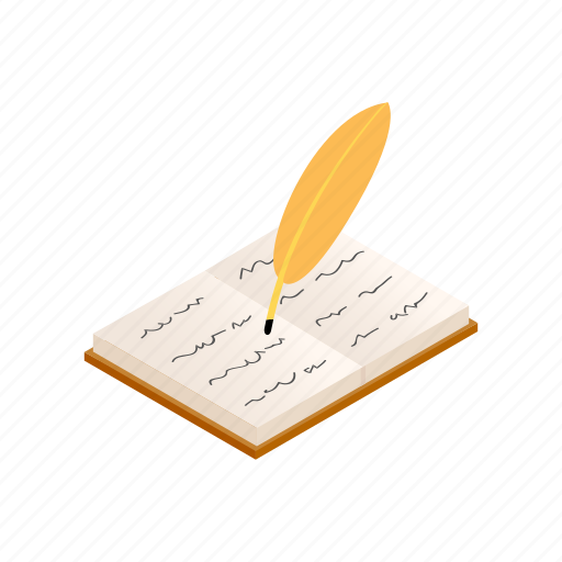 book, history, isometric, old, paper, pen, quill icon