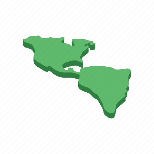 america, isometric, land, map, north, travel, usa icon