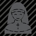 nun, pray, religion, religious, sister, woman