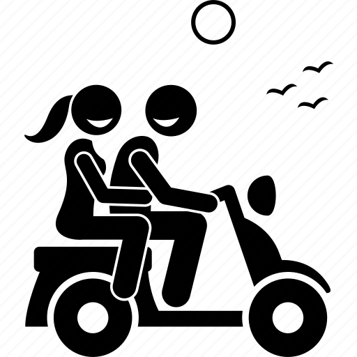 couple, leisure, motorbike, motorcycle, ride, riding, together icon