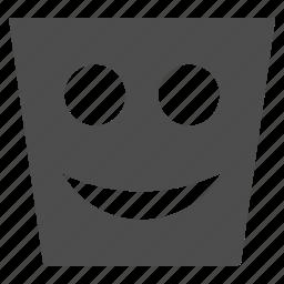 basket, can, emoticon, emotion, happy, smile, smiley icon