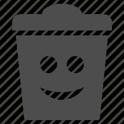 dustbin, emotion, garbage, happy, smile, smiley, trash can icon