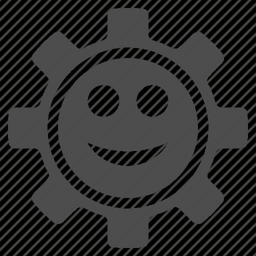 configuration, emotion, gear, happy, smile, smiley, tool icon