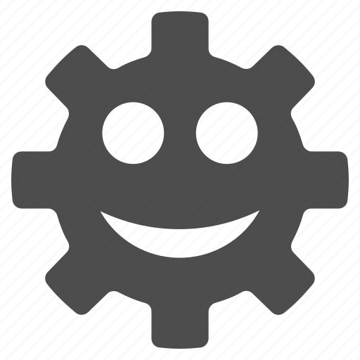 configuration, emotion, gear, happy, settings, smile, smiley icon