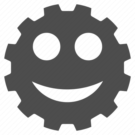 emoticon, emotion, gear, happy, settings, smile, smiley icon