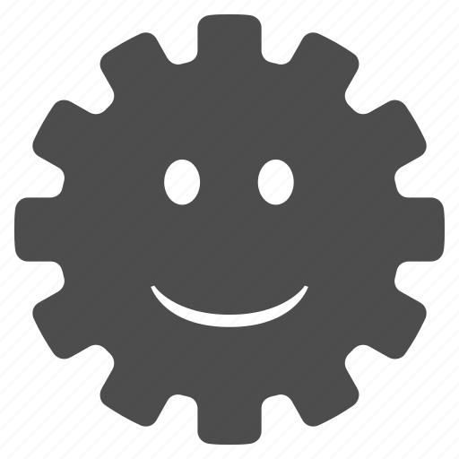 cog, emotion, gear, happy, settings, smile, smiley icon