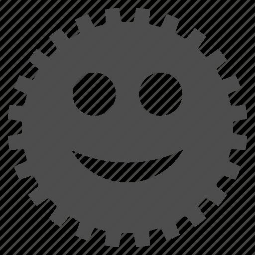 cog, emoticon, emotion, gear, happy, smile, smiley icon