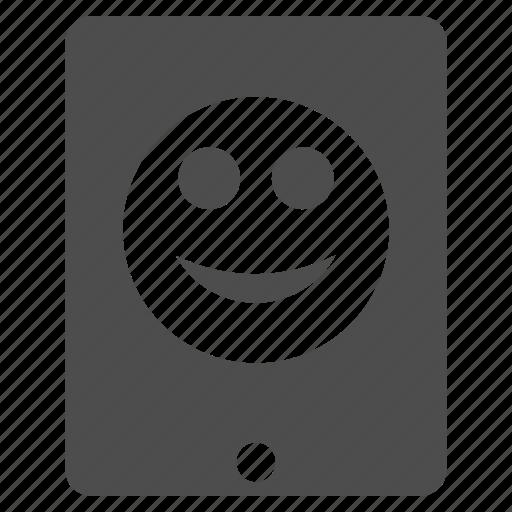 emoticon, emotion, happy, ipad, smile, smiley, tablet icon