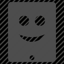 emotion, happy, ipad, mobile, smile, smiley, tablet icon