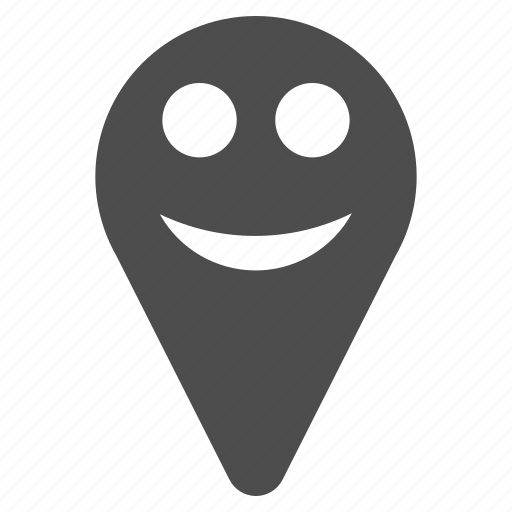 emotion, happy, location, map marker, pin, smile, smiley icon
