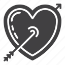 arrow, heart, love, romance, valentine icon