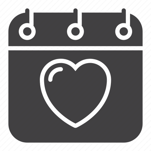 calendar, date, heart, love, valentine's day icon