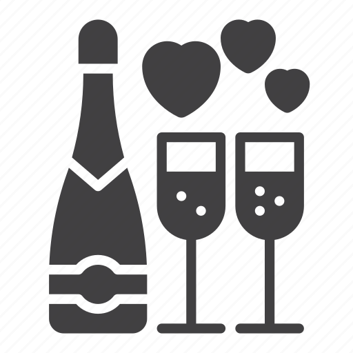 Bottle, celebrate, champagne, glass, love, wine icon - Download on Iconfinder