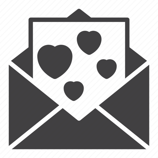 envelope, hearts, letter, love, message icon