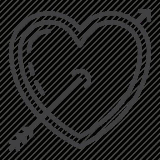 arrow, heart, love, valentine icon