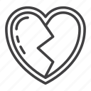 broken, heart, heartbreak, love, romance icon