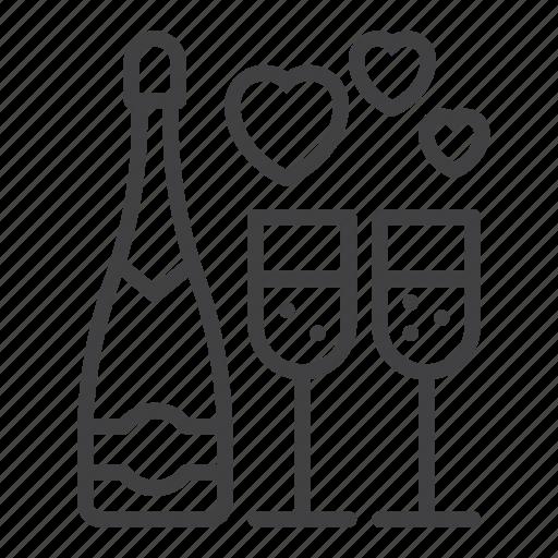 bottle, celebrate, champagne, glass, hearts, love, wine icon