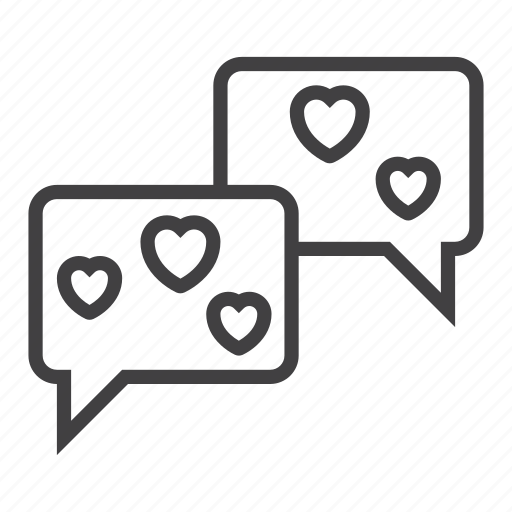 bubbles, chat, hearts, love, speech icon