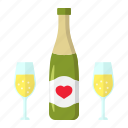 bottle, champagne, glasses, holiday, love, romantic, valentine icon