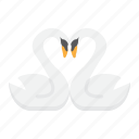 heart, holiday, love, romantic, shape, swans, valentine icon