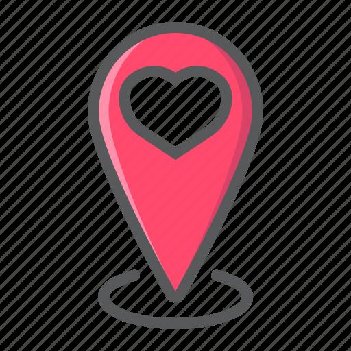 Heart, location, love, map, pin, pointer, valentine icon