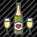 bottle, champagne, glasses, holiday, love, romantic, valentine icon