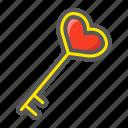 heart, holiday, key, love, romantic, shape, valentine icon